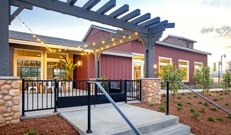Patio of the clubhouse in Beechtree at Harvest at Limoneira in Ventura