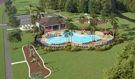 Bird eye rendering of the amenities in Riverstone in ORL