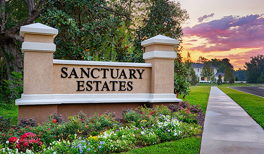 Entrance to the Sanctuary Estates community in Jacksonville