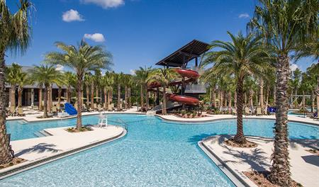 Community pool with waterslide at Shearwater in Jacksonville