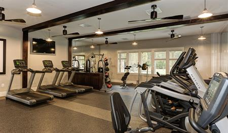 Fitness center at the community clubhouse at Tanyard Cove Townes in Baltimore