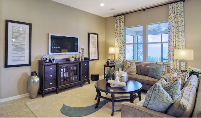 Family room in the Alan floor plan
