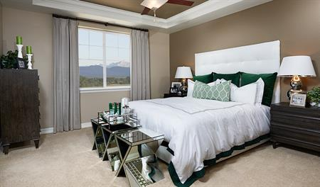 Master bedroom in the Alcott floor plan