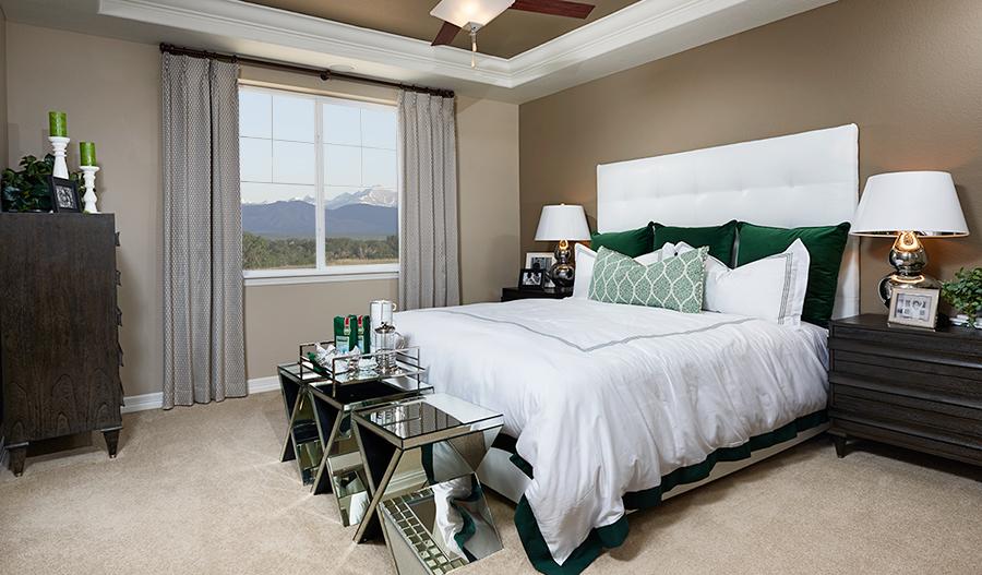 Master bedroom in the Alcott floor plan
