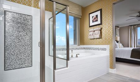 Master bath with walk in shower in the Amber floor plan