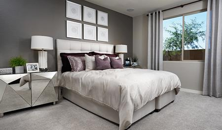 Master bedroom in the Amethyst floor plan