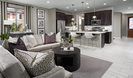 Great room in the Amethyst floor plan