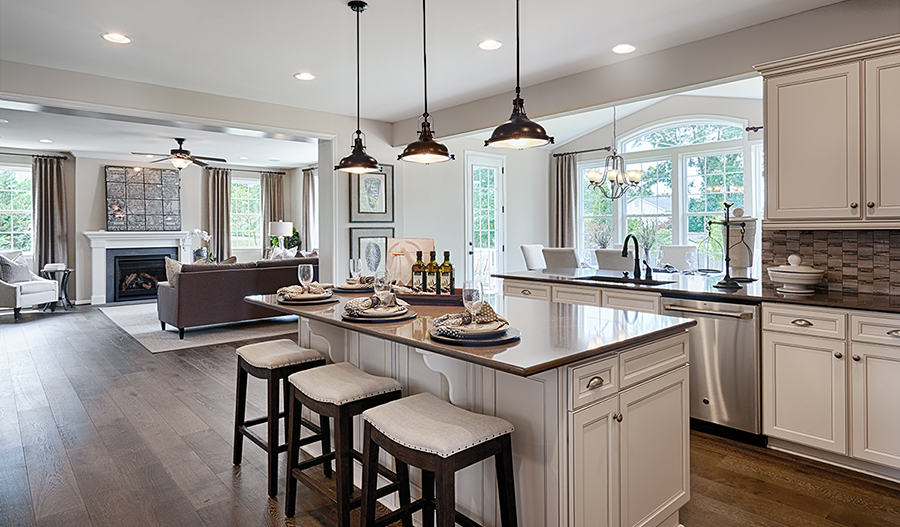 Great room and kitchen of the Amherst floor plan