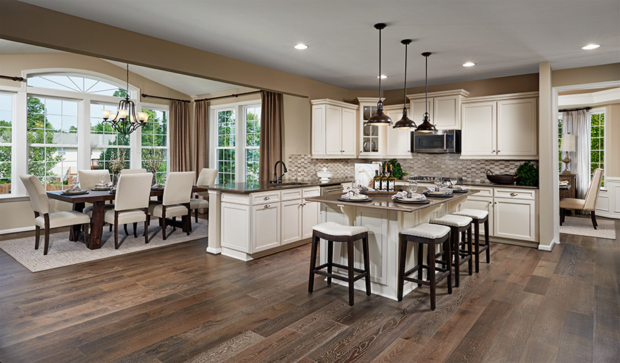 Dining room and kitchen of Amherst floor plan