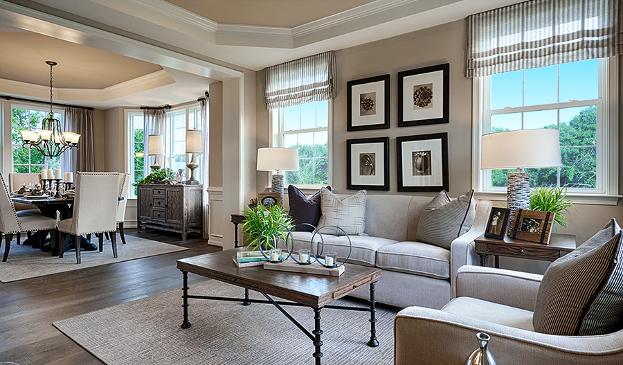 Living room and dining room for Amherst floor plan