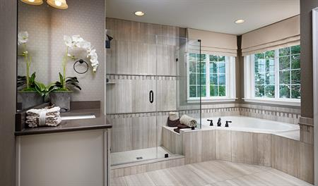 Master bathroom with walk in shower in the Amherst floor plan
