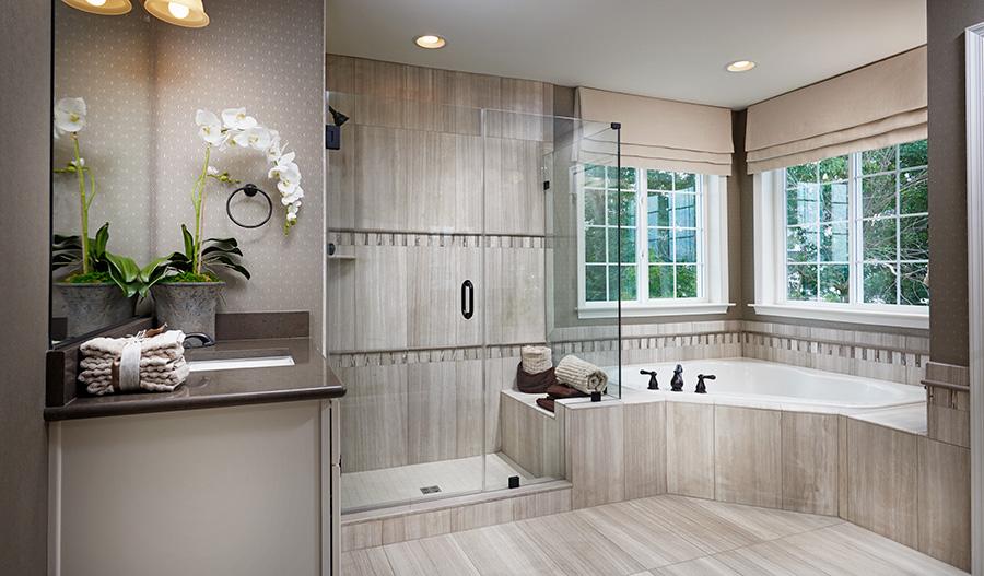 Master bathroom with walk in shower in the Amherst floor plan