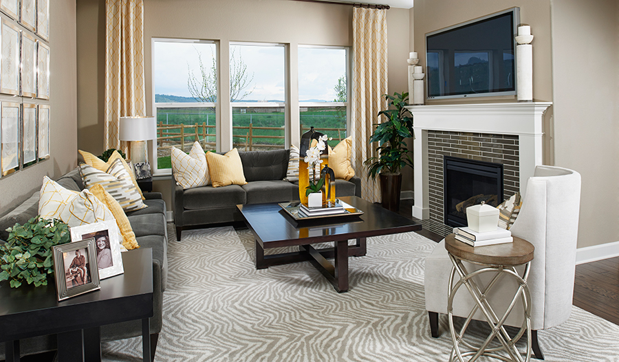 Family room with fireplace in the Avalon floor plan