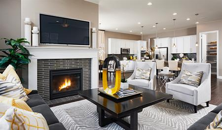 Great room with fireplace in the Avalon floor plan