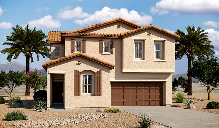 Exterior A of the Beverly floor plan in the Tenaya Highlands community