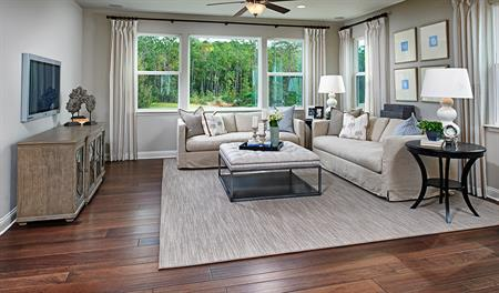 Family room in the Bradford floor plan