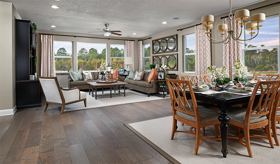 Great room and dining room in the Bradford floor plan
