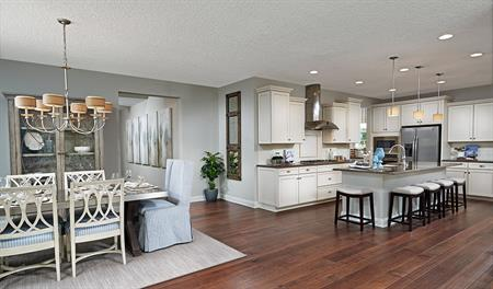 Great room and kitchen of the Bradford floor plan