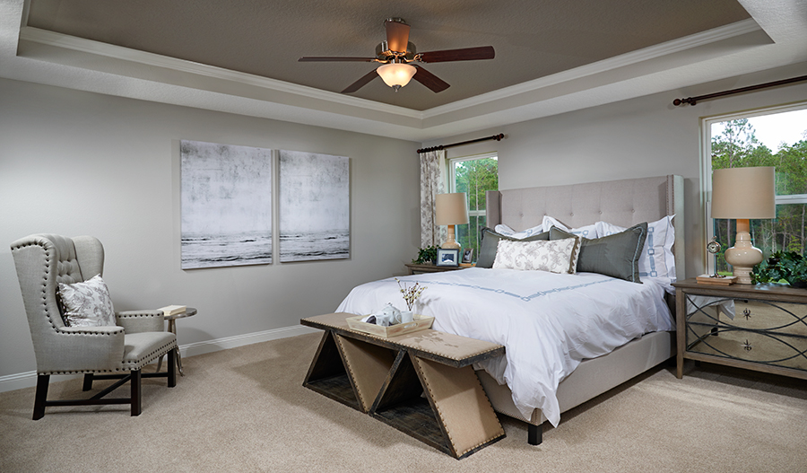 Master bedroom in the Bradford floor plan