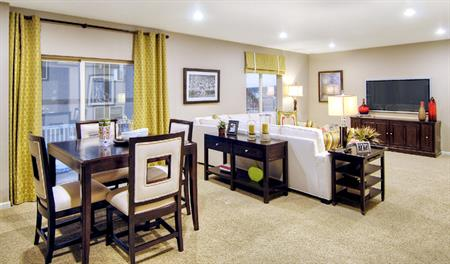 Living room in the Bryce floor plan