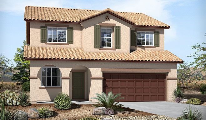Exterior A of the Burton floor plan in the Skyline Ridge community