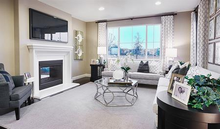 Living room of the Caroline floor plan