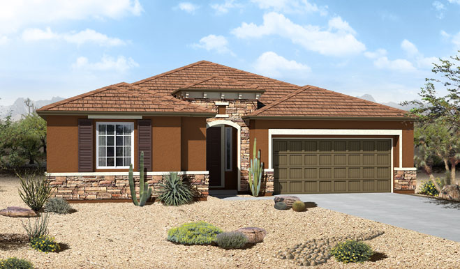 Exterior C of the Celeste floor plan with optional stone