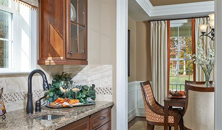 Butler's pantry and dining room in Charlotte model home