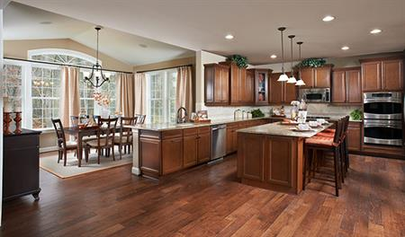 Kitchen and dining area in Charlotte model home