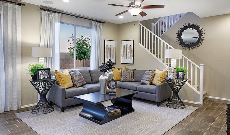 Family room in the Citrine floor plan