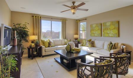 Family room in the Claudia floor plan
