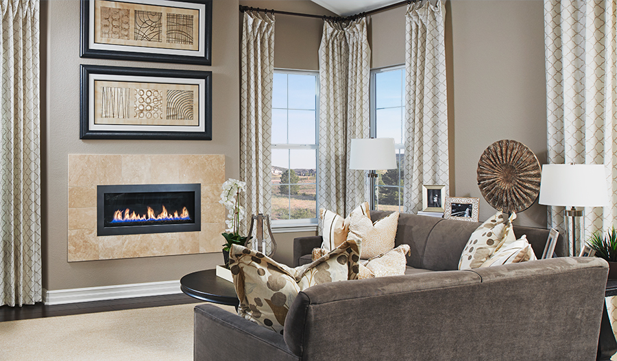 Family room with fireplace in the Daley floor plan