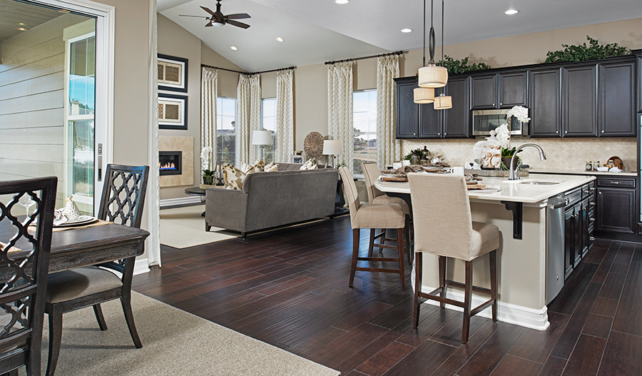 Kitchen and family room in the Daley floor plan