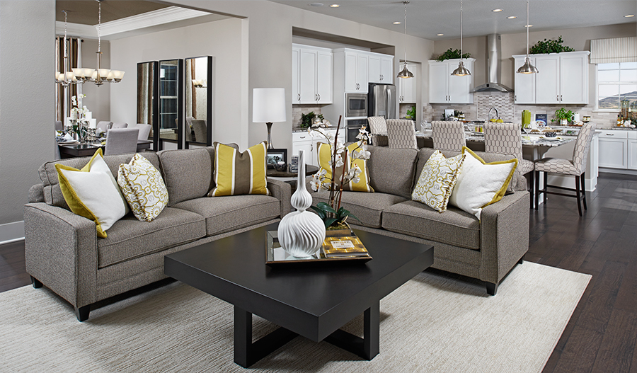 Great room in the Dallas floor plan