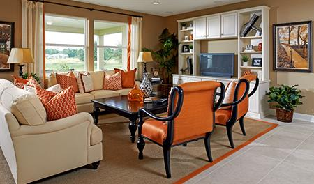 Family room in the Dalton floor plan