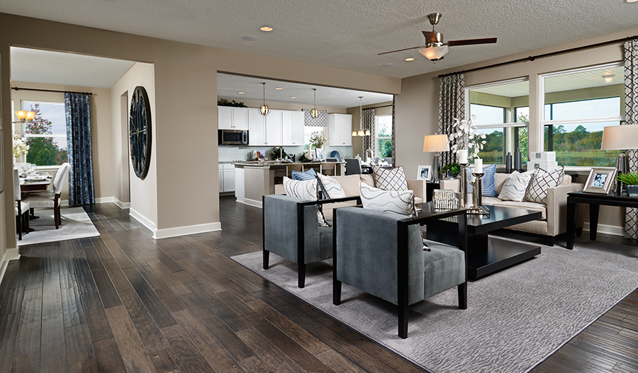 Great room in the Dalton floor plan