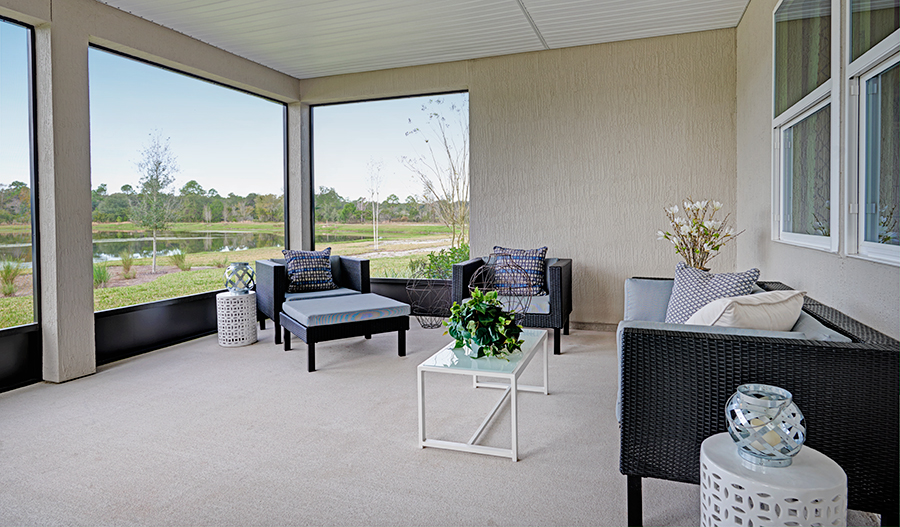 Extended covered patio with view in the Dalton floor plan