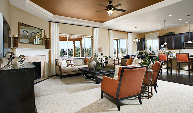 Great room with fireplace in the Daniel floor plan
