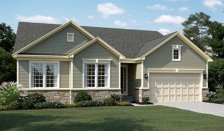 New home exterior A of Daniel floor plan with partial stone