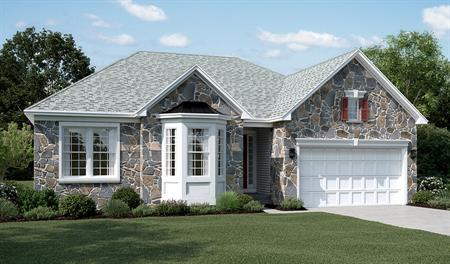 New home stone front exterior E of Daniel floor plan
