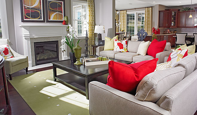 Family room in the Darby floor plan