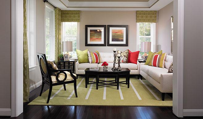 Living room of the Darby floor plan