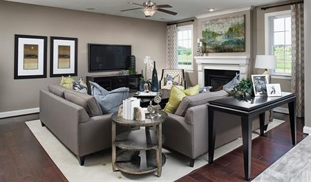 Family room with fireplace in Darby floor plan