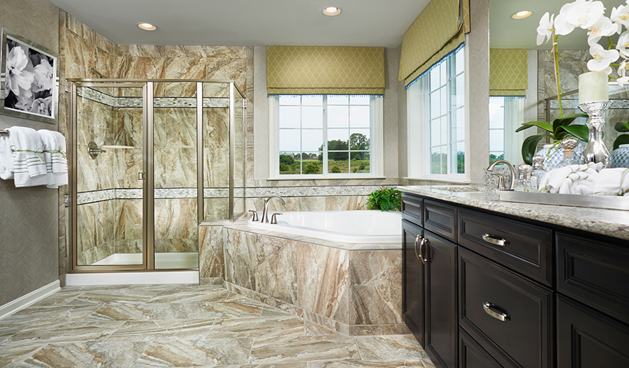 Master bathroom with walk in shower in the Darby floor plan