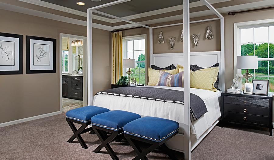 Master bedroom in the Darby floor plan