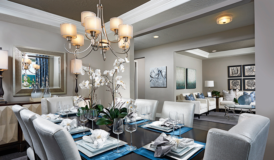 Dining room and living room in the Darla floor plan