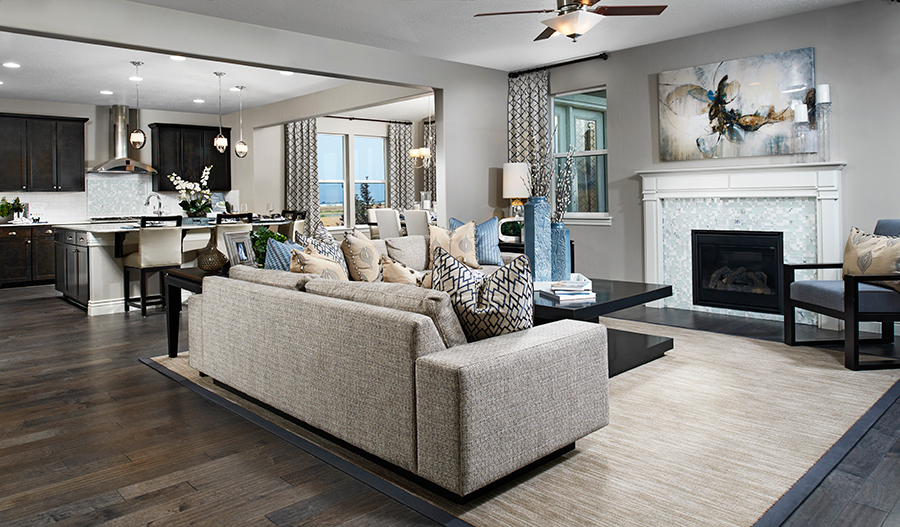 Great room with fireplace in the Darla floor plan