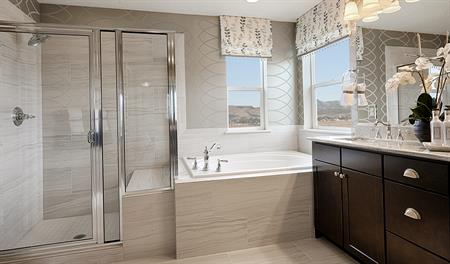 Master bathroom with walk in shower in the Darla floor plan