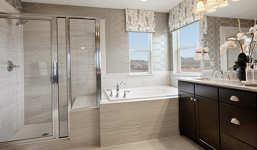 Master bathroom with walk in shower in the Darla floor plan