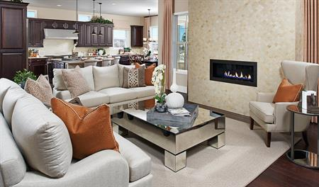 Great room with fireplace in the Dayton floor plan